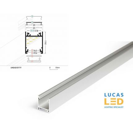 LED Surface Profile , Linea20 EF/TY, Anodised , 2 meter