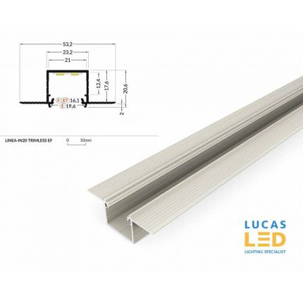 LED Architectural Recessed Profile,LINEA-IN20 TRIMLESS, Plaster In ,Alu- Silver ,2 Meter Length