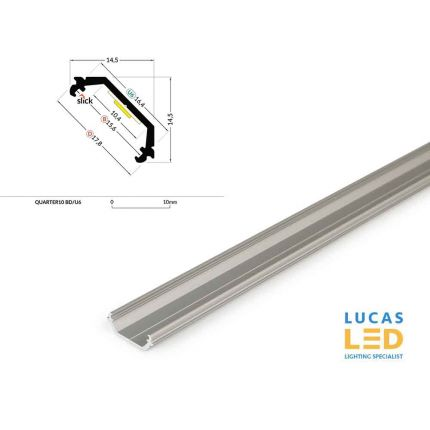 LED Corner Profile QUARTER10 , Silver ,2 Meter Length