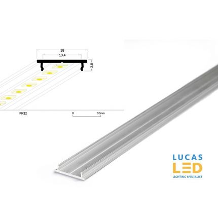 LED Special Application LED Radiator Profile , FIX12, Silver , 2 meter