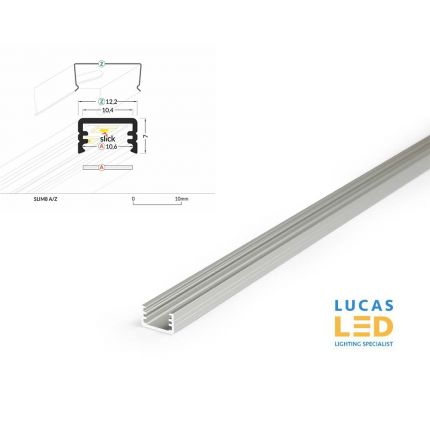 LED Surface Profile , SLIM 8 , Anodised , 2 meter