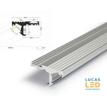 LED Special Application Profile - for Stairs - STEP10 - Silver, 2 meter