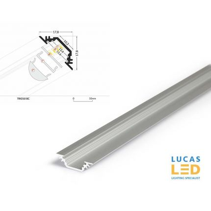 LED Corner Profile TRIO10 , Silver ,2 Meter Length