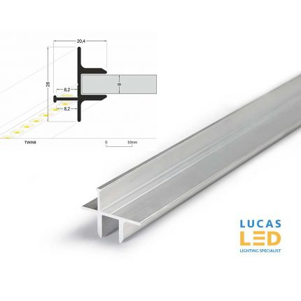 LED Glass Profile TWIN8 , Silver ,2 Meter Length