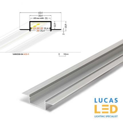 LED Architectural Recessed Profile,VARIO 30-04 , Plaster In ,Alu ,2 Meter Length