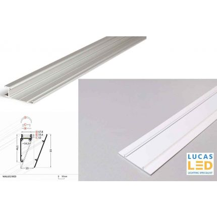 LED Special Application Profile , Walle12 WHITE , 2 meter with Support Profile