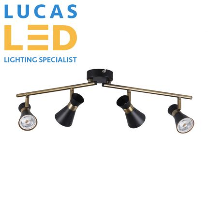 Surface LED Ceiling Light- GU10 (4x max.35) - IP20-  Decorative Home Lamp- MILENO L4- Black&Gold