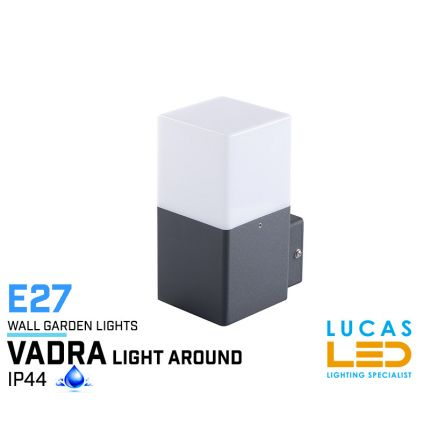 Outdoor LED Wall Light - E27 - IP44 - VADRA 16 - Surface Facade Lamp - Up Light - White / Anthracite colour