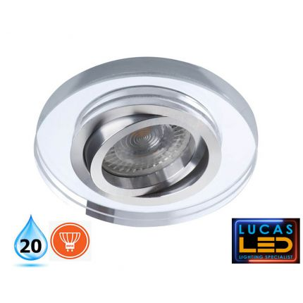 Recessed LED Spotlight- IP20 - GU10 - Vertical adjustment of 30°- MORTA 24mm  glass ring