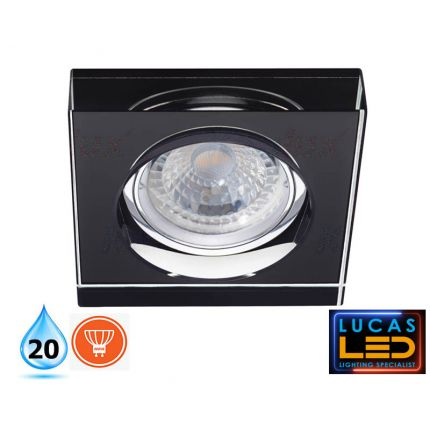 MORTA 36mm - IP20 - GU10 - Recessed LED Spotlight -black-cristal glass