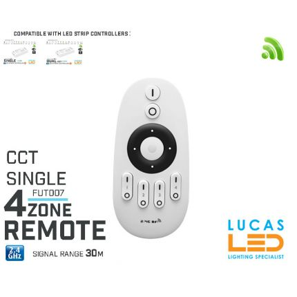 Remote Control • Dimmer • 4  zone • MiLight • FUT007 • Single & CCT LED Strip • 2xAAA • 4 way Buttons •