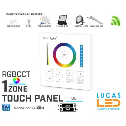 LED Touch Panel Switch • RGB CCT LED Strip • Dimmer • MiBoxer • B0 • 1 zone • 2.4G • Wireless • Smart • 2xAAA •
