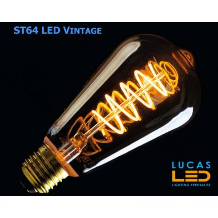 ST64 LED Vintage bulb Filament light- 5W- E27- SUPER WARM Colour - 1800K - 270lm - viewing angle 320° - New Xled Decorative Version Bulb