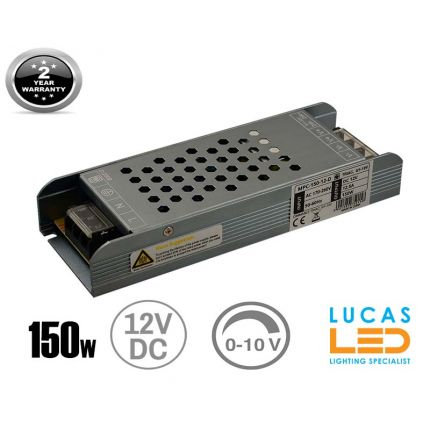 LED Triac 0/1-10V  Dimmable Driver Power Supply • 150 watts • 12.5A • DC 12V for LED Strips •