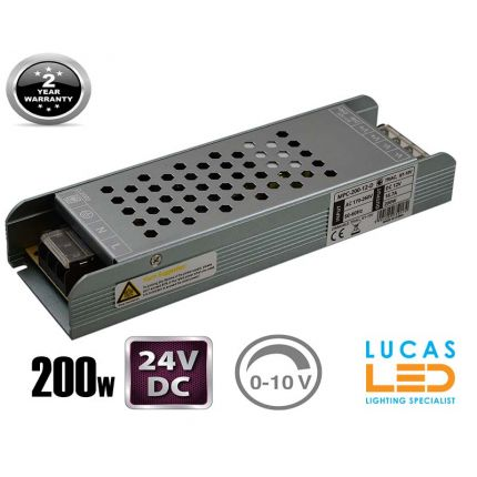 LED Triac 0/1-10V  Dimmable Driver Power Supply • 200 watts • 8.3A • DC 24V for LED Strips •