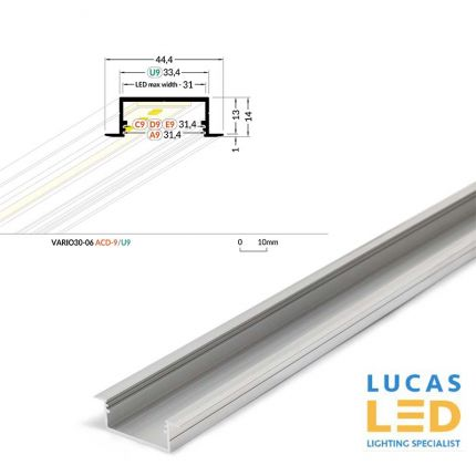 LED Architectural Recessed Profile,VARIO 30-06 ,Alu ,2 Meter Length