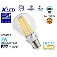 E27 LED Filament Bulb Light 7W - 810lm - 2700K/4000K/6500K - CCT function - viewing angle 320 ° - XLED STEP CCT (changeable) light source