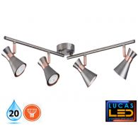 LED Ceiling surface Light- GU10- IP20- Decorative Home Lamp- MILENO L4- Silver&Cooper color