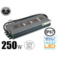 LED Driver Power Supply • 250 watts • 21A • DC 12V for LED Strips • IP67 Waterproof •