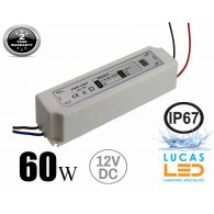 LED Driver Power Supply 60 watts • 5A • DC 12V for LED Strips • IP67 Waterproof •