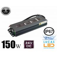 LED Driver Power Supply • 150 watts • 6.25A • DC 24V for LED Strips • IP67 Waterproof •