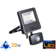 ANTOS 20W - 1600lm - Natural White – Black – LED Floodlight with a Motion Detector