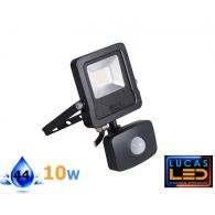 Outdoor LED Floodlight -PIR sensor- 10W- IP65- 4000lm- Natural White- Montion detector- ANTOS- Black
