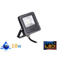 Outdoor LED Floodlight- 10W- IP44- 800lm- 4000K Natural White- ANTOS- Black
