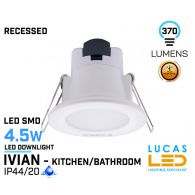 LED Panel Light  4.5W - IP44/20 - RECESSED Downlight - ceiling - full fitting - Bathroom/Kitchen - LED SMD - IVIAN