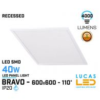 LED Panel Light  600x600 - 40W - 4000lm - IP20 - RECESSED Downlight - ceiling fitting -  LED SMD - BRAVO STANDARD 6060