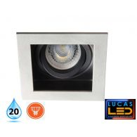 LED Recessed Downlight - Ceiling fitting - GU10 - IP20 - Vertical adjustment of 20° - ARET Grey