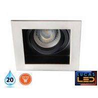 LED Recessed Downlight - Ceiling fitting - GU10 - IP20 - Vertical adjustment of 20° - ARET Chrom matt
