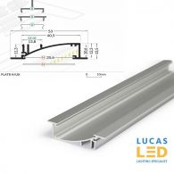 LED Recessed Profile , FLAT8 H/UX , Anodised , 2 meter