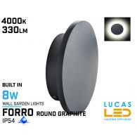 Surface LED Wall Facade Light- 8W- IP54- 330lm- 4000K- Graphite- Outdoor&Indoor lamp- round light- FORRO