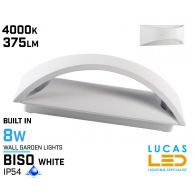 Surface LED Wall Facade Light- 8W- IP54- 375lm- 4000K- White- Outdoor & Indoor lamp- Up & Down- BISO