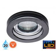MORTA - IP20 - GU10 - Recessed LED Spotlight black glass