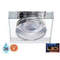 MORTA 36mm - IP20 - GU10 - Recessed LED Spotlight -cristal glass-square shape