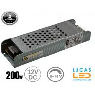 LED Triac 0/1-10V  Dimmable Driver Power Supply • 200 watts • 16.7A • DC 12V for LED Strips •