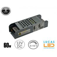 LED Triac 0/1-10V  Dimmable Driver Power Supply • 60 watts • 5A • DC 12V for LED Strips •