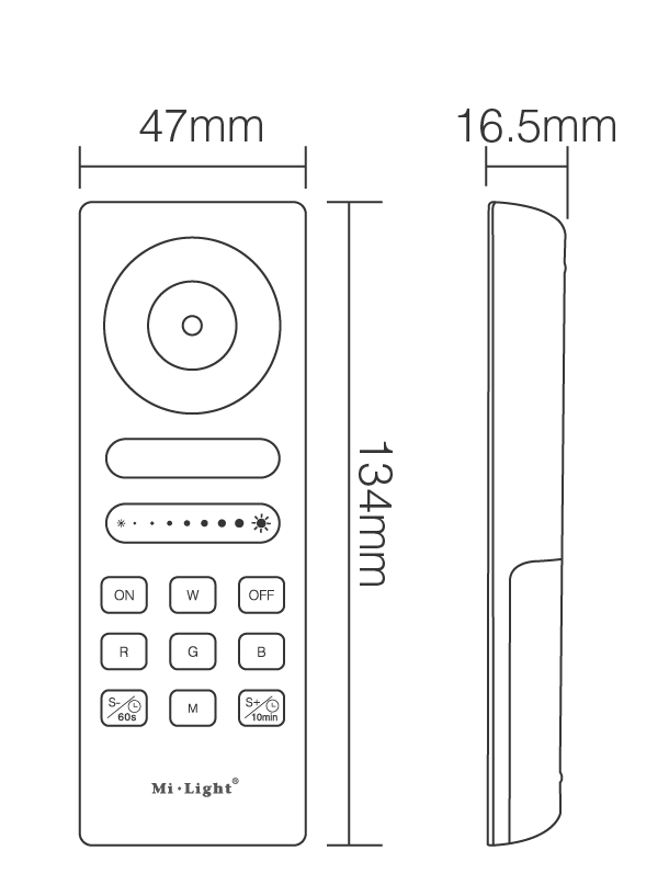 Specification & Dimensions LED Touch Remote